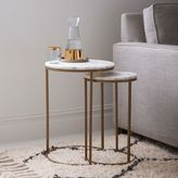 Round Nesting Side Tables Set - Marble/Antique Brass