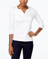 Karen Scott Petite Henley Top, Only at Macy's