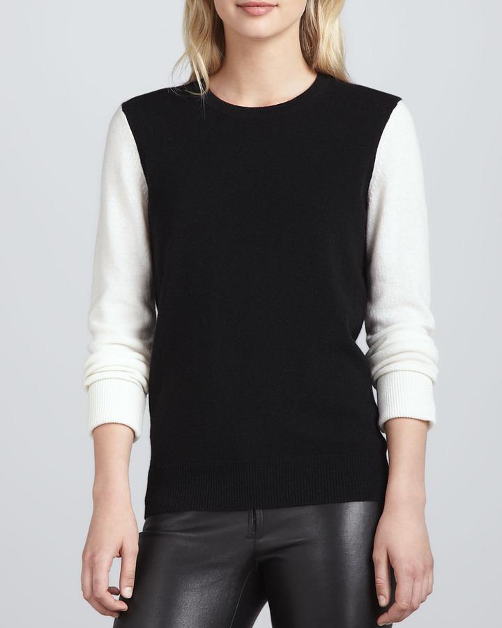 Equipment Shane Cashmere Colorblock Sweater, Black/Ivory