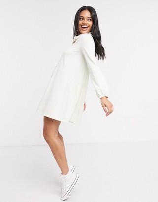 ASOS DESIGN mini dress with lace trim collar in cream