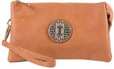 Brown Emblem Crossbody Clutch & Wristlet