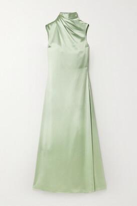 Brandon Maxwell Draped Silk-satin Crepe Midi Dress - Mint