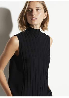 Vince Sleeveless Mixed Rib Turtleneck