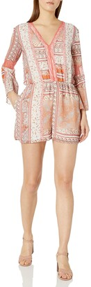 BCBGeneration Women's Printed Lace Insert Romper