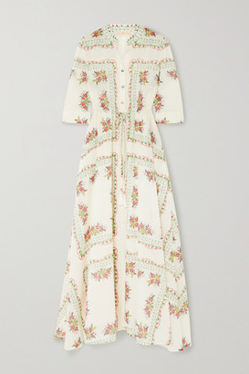 Tory Burch Floral-print Cotton-poplin Maxi Shirt Dress - White