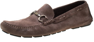 Dolce & Gabbana Brown Antique Finish Suede Slip On Loafers Size 44
