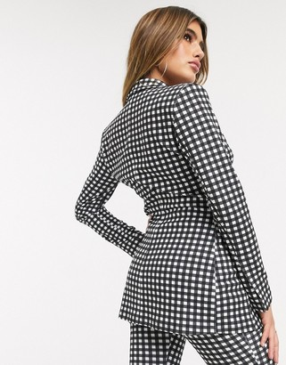 ASOS DESIGN jersey suit blazer in gingham