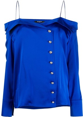 Balmain Off-Shoulder Silk Blouse