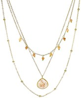 Panacea Peach Moonstone & Crystal Layered Necklace