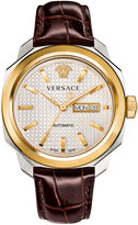 Versace 44mm Men's Dylos Automatic Watch w/ Leather Strap, Brown