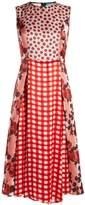 Marni Gingham and polka-dot print silk-satin dress