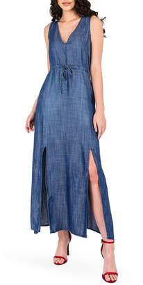Standards & Practices Amber Drawstring Waist Double Split Sleeveless Maxi Dress