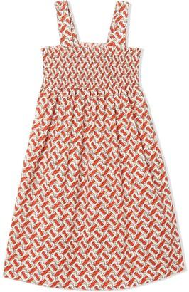 BURBERRY KIDS Smocked Monogram Print Dress