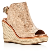 Gentle Souls Jacey Metallic Snake Embossed Leather High Heel Wedge Sandals