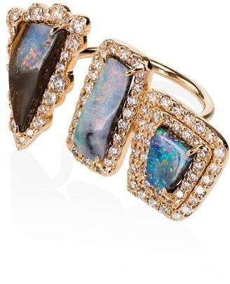 Kimberly Boulder 3 Opal diamond ring