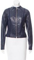 David Meister Leather Collarless Jacket
