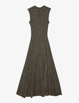 Maje Rosette ribbed stretch-woven midi dress