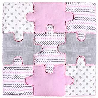Lulando Puzzle Cushion Set of 9, Soft Puzzle Play Mat Game Mat to Frolic and Play. Ideal for Any Bedroom. Colour: Pink