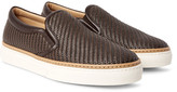 Ermenegildo Zegna - Pelle Tessuta Leather Slip-on Sneakers