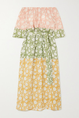 Hannah Artwear - Elba Off-the-shoulder Belted Printed Linen Midi Dress - Yellow