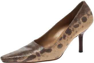 Gucci Brown/Beige Snakeskin Leather Pointed Toe Pumps Size 36.5