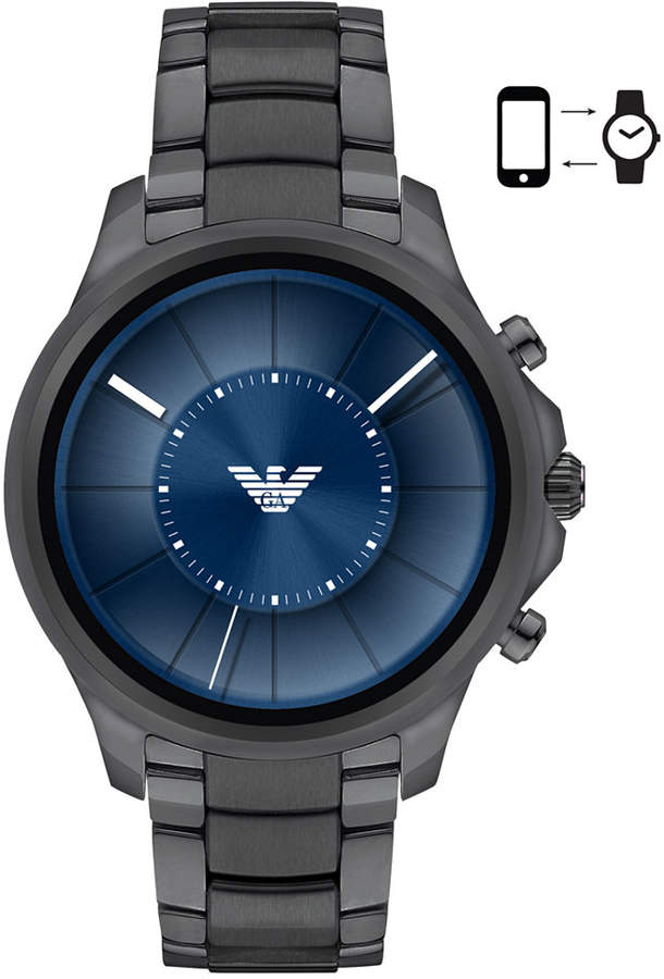 Emporio Armani Men's Connected Gray Stainless Steel Bracelet Touchscreen Smart Watch 46mm