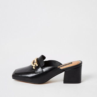 River Island Black snaffle block heel mule shoes
