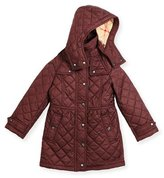 Burberry Foxmoore Hooded Quilted Trenchcoat, Dark Elderberry, Size 4-14
