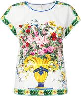 Dolce & Gabbana floral print top - women - Cotton - 40