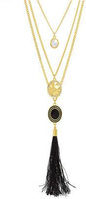 Catherine Malandrino Women Simulated White Pearl And Rhinestone Hammered Disc Yellow Gold-Tone Black Tassel Chain Necklace