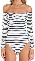 Cheapcotton Women's Black Stripe Shoulderless Leotard (XL)