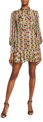 Alexis Mirene Tie-Neck Geo-Print Mini Dress