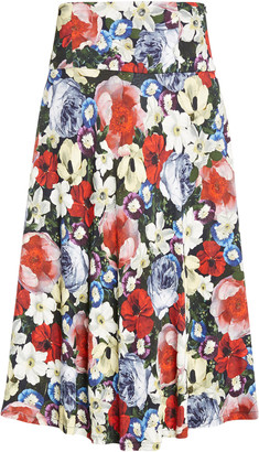 Erdem Elvin Floral Print Jersey Midi Skirt