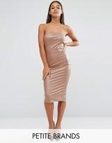 Boohoo Petite Bandeau Leather Look Midi Dress