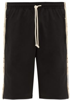 Gucci Logo-jacquard Side-stripe Shorts - Black