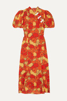 De La Vali Bluebell Appliqued Floral-print Silk-georgette Midi Dress