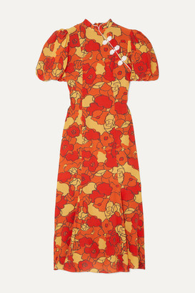 De La Vali Bluebell Appliqued Floral-print Silk-georgette Midi Dress - Orange