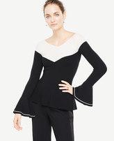 Ann Taylor Petite Colorblock Ruffle Cuff Sweater