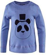 Mini Rodini Panda Long Sleeve Wool Tee in Blue