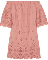 Madewell Off-the-shoulder Broderie Anglaise Mini Dress - Antique rose