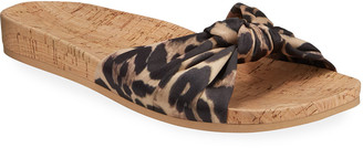 Veronica Beard Tilly Leopard-Print Satin Slide Sandals