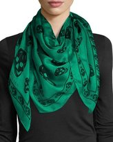 Alexander McQueen Silk Mixed Skull Square Scarf, Green/Black