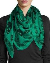 Alexander McQueen Silk Mixed Skull Square Scarf, Green/Black