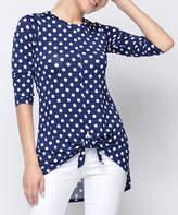 Celeste Women's Tunics NAVY - Navy Dot Tie-Hem Three-Quarter Sleeve Top - Plus