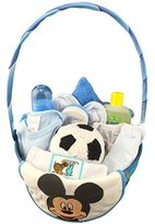 BASSKET.COM Newborn Baby Gift Basket/ Set For Boys, (0-6 Months), 12 Piece Bundle Filled Basket of Baby Gift Items, Perfect ideas for Birthdays, Easter, Christmas, Get Well, or Other Occasion!
