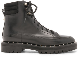 Valentino Leather Soul Rockstud Hiking Boots in Black | FWRD