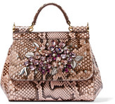 Dolce & Gabbana Sicily Mini Embellished Python Tote - Antique rose