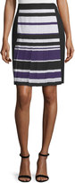 J. Mendel High-Waist Striped Skirt, Kitten Blue/Multi