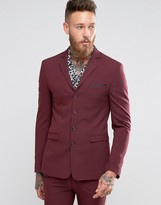 Asos Super Skinny Four Button Suit Jacket In Berry