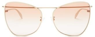 Alexander McQueen Butterfly Metal Sunglasses - Brown Gold